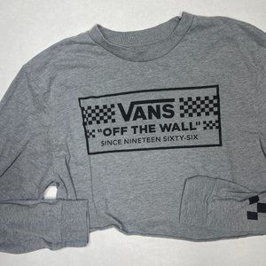 VANS Gray Black L/S Crop Graphic T